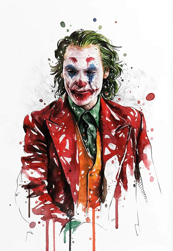 2019 Joker movie watercolor art deco